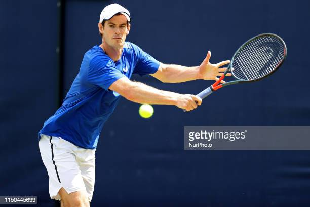 Andy Murray practices during the Fever Tree Tennis Championships at the Queen's Club West Kensington on Monday 17th June 2019