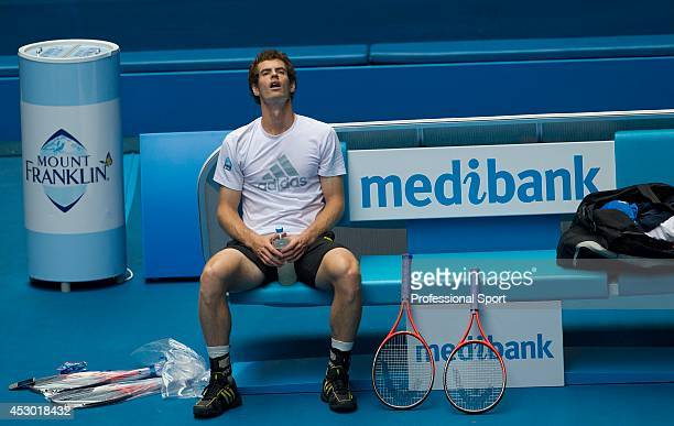 Andy Murray resting during a practice session on day thirteen of the 2013 Australian Open at Melbourne Park on January 26, 2013 in Melbourne,...