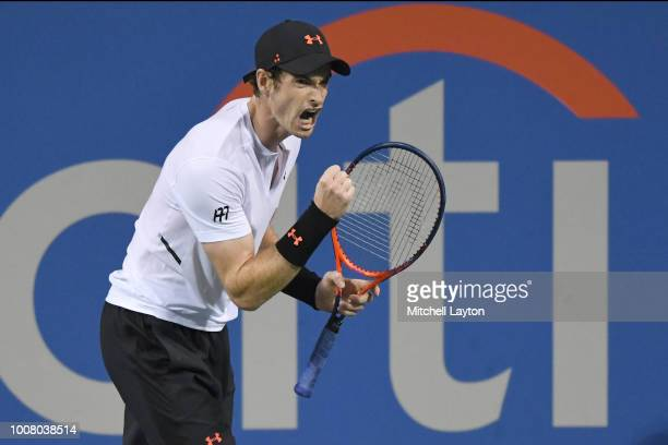 Andy Murray returns a celebrates a shot against Mackenzie McDonald during the Citi Open at the Rock Creek Tennis Center on July 30 2018 in Washington...