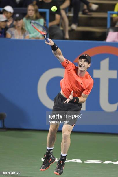 Andy Murray serves to Mackenzie McDonald during the Citi Open at the Rock Creek Tennis Center on July 30 2018 in Washington DC