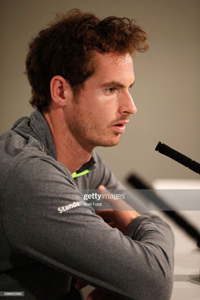 Andy Murray speaks at a press conference at the Aegon Championships at Queens Club on June 12, 2016 in London, England.