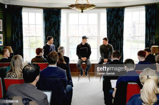 Andy Murray speaks with Tom Beahon at the Castore and Andy Murray Press Conference at The Queen's Club on March 06 2019 in London United Kingdom