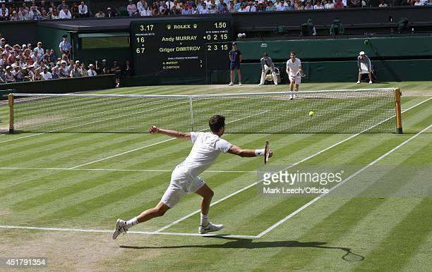 Andy Murray versus Grigor Dimitrov on Centre Court on day nine of the Wimbledon Lawn Tennis Championships at the All England Lawn Tennis and Croquet...
