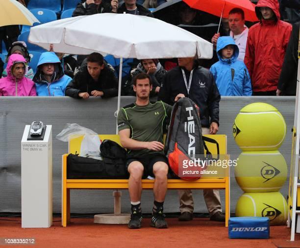 Andy Murray waits for the start of the match against Philipp Kolschreiber at the ATP Tennis Tournament in Munich Germany 03 May 2015 Due to heavy...