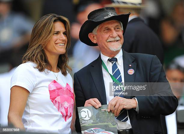 Andy Murray's Coach Amelie Mauresmo chats to a Centre Court steward on Day Nine of the 2014 Wimbledon Tennis Championships at the All England Lawn...
