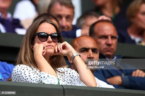 Andy Murray's wife Kim looks despondent during his Gentlemen's Singles quarter final match against Sam Querrey of The United States on day nine of...
