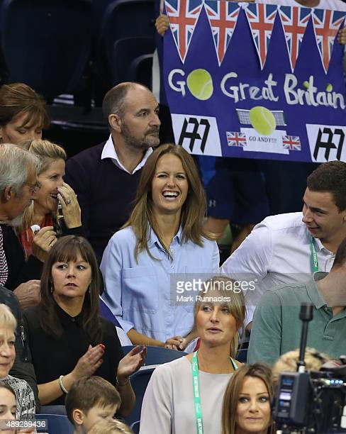 Andy Murray's wife Kim Sears watches the action during his singles match against Bernard Tomic of Australia on the third day of the Davis Cup Semi...