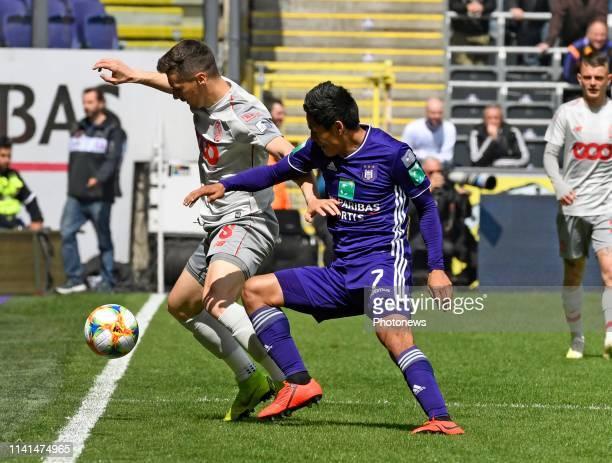 Andy Najar midfielder of Anderlecht and Gojko Cimirot midfielder of Standard Liege pictured during the Jupiler Pro League match between RSC...