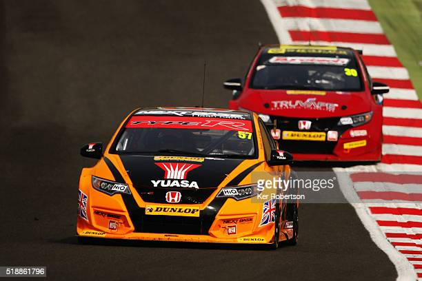 Andy Neate of Halfords Yuasa Honda drives during race one of the Dunlop MSA British Touring Car Championship at Brands Hatch on April 3 2016 in...