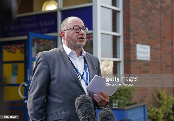 Andy Nicholls the headteacher of St James Primary School where murder victim Mylee Billingham aged eight was a pupil makes a statement to the media...