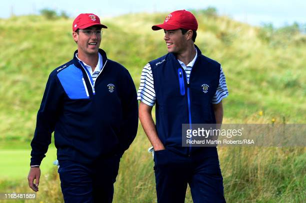 Andy Ogletree of the United States chats to Cole Hammer during a practice round at Royal Birkdale Golf Club prior to the 2019 Walker Cup on September...