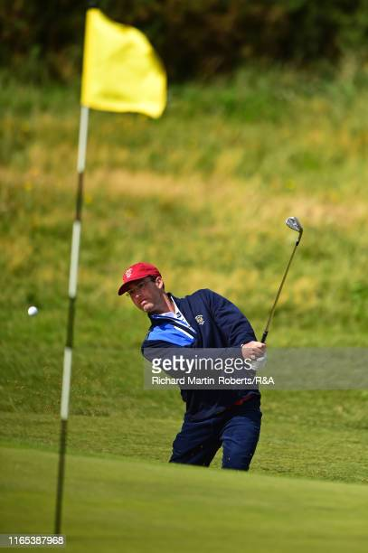 Andy Ogletree of the United States hits a bunker shot during a practice round at Royal Birkdale Golf Club prior to the 2019 Walker Cup on September 1...