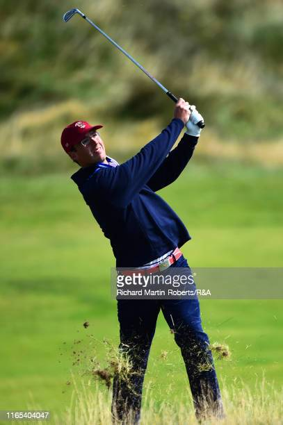 Andy Ogletree of the United States hits from the rough during a practice round at Royal Birkdale Golf Club prior to the 2019 Walker Cup on September...