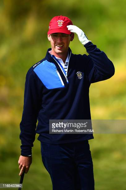 Andy Ogletree of the United States looks on during a practice round at Royal Birkdale Golf Club prior to the 2019 Walker Cup on September 1 2019 in...