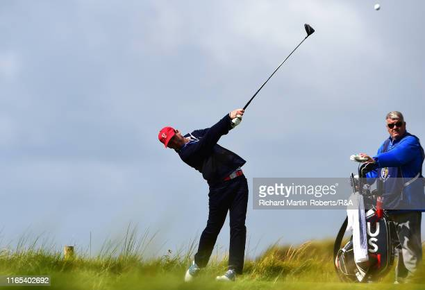 Andy Ogletree of the United States tees off on the 8th hole during a practice round at Royal Birkdale Golf Club prior to the 2019 Walker Cup on...