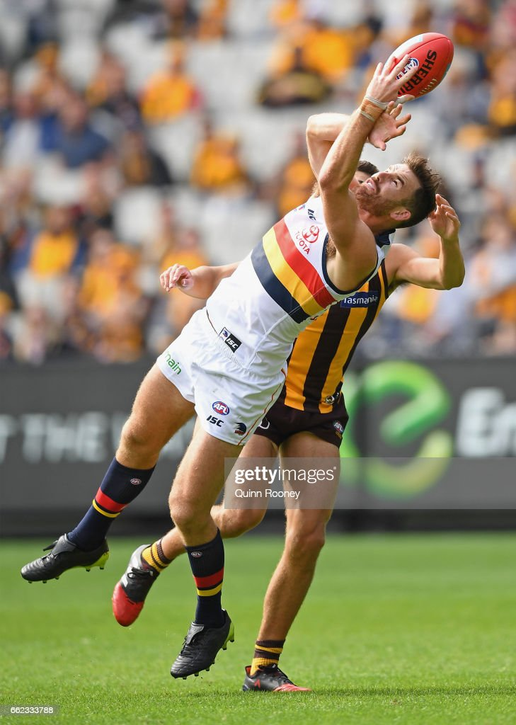 Andy Otten of the Crows marks during the round two AFL match between the Hawthorn Hawks and the Adelaide Crows at Melbourne Cricket Ground on April 1, 2017 in Melbourne, Australia.