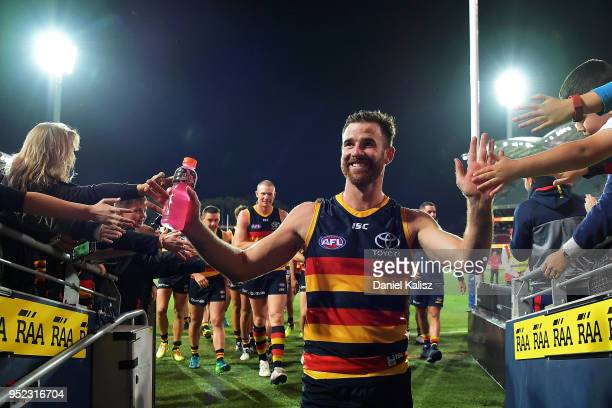 Andy Otten of the Crows walks from the ground after the round six AFL match between the Adelaide Crows and Gold Coast Suns at Adelaide Oval on April...