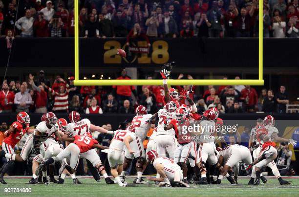 Andy Pappanastos of the Alabama Crimson Tide misses a 36 yard field goal at the end of regulation against the Georgia Bulldogs in the CFP National...