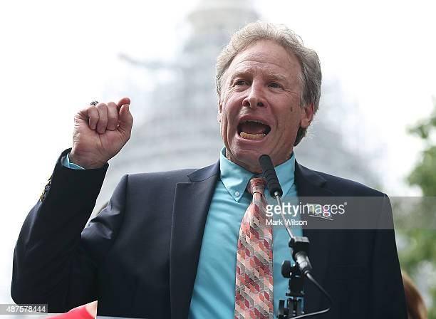 Andy Parker father of murdered TV reporter Alison Parker speaks during a anti gun rally on Capitol Hill September 10 2015 in Washington DC Parker...