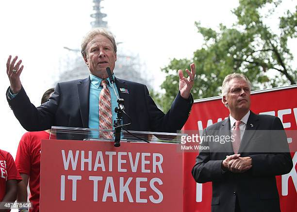 Andy Parker , father of murdered TV reporter Alison Parker, speaks while flanked by Virginia Governor Terry McAuliffe , during a anti gun rally on...