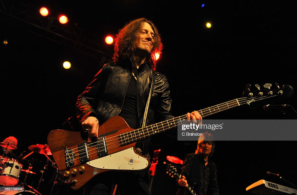 Andy Parker, Rob De Luca and Paul Raymond of UFO perform on stage at The Forum on March 5, 2013 in London, England.