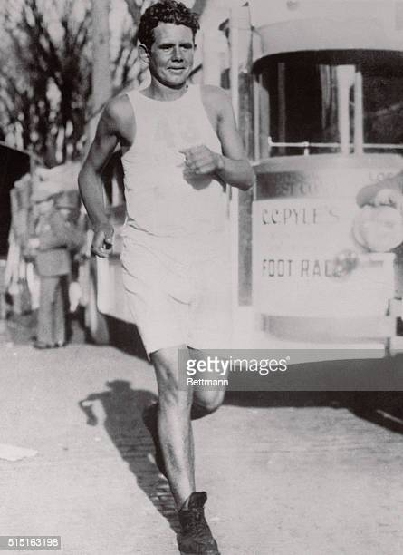 Andy Payne from Oklahoma reaches Joliet Illinois during CC Pyle's Bunion Derby Payne won the footrace which stretched from Los Angeles to New York...