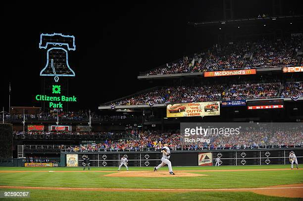Andy Pettite of the New York Yankees pitches during Game Three of the 2009 MLB World Series at Citizens Bank Park on October 31 2009 in Philadelphia...