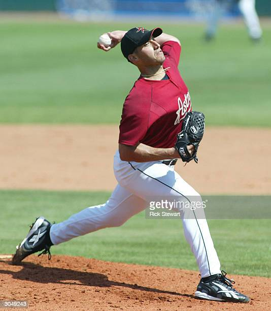 Andy Pettitte of the Houston Astros throws against the Atlanta Braves on March 6 2004 at Osceola County Stadium in Kissimmee Florida