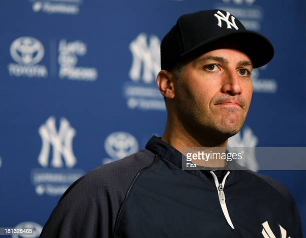 Andy Pettitte of the New York Yankees announces his retirement during a press conference before the game against the San Francisco Giants on...