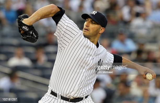 Andy Pettitte of the New York Yankees delivers a pitch against the Philadelphia Phillies on June 17 2010 at Yankee Stadium in the Bronx borough of...