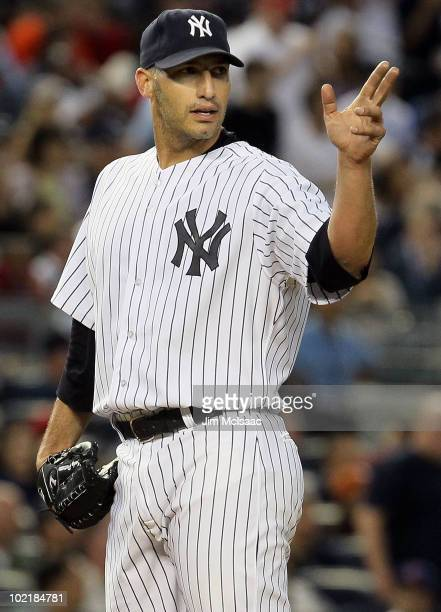 Andy Pettitte of the New York Yankees gestures on the mound during the fifth inning against the Philadelphia Phillies on June 17 2010 at Yankee...