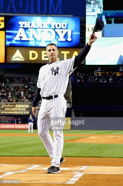 Andy Pettitte of the New York Yankees is honored before the game against the Tampa Bay Rays during their game on September 25 2013 at Yankee Stadium...