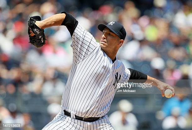Andy Pettitte of the New York Yankees pitches against the Cleveland Indians at Yankee Stadium on June 27 2012 in the Bronx borough of New York City