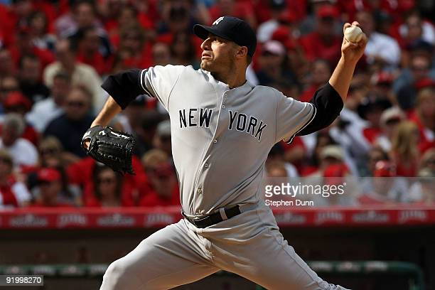 Andy Pettitte of the New York Yankees pitches against the Los Angeles Angels of Anaheim during Game Three of the ALCS during the 2009 MLB Playoffs at...