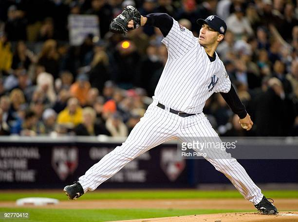 Andy Pettitte of the New York Yankees pitches against the Philadelphia Phillies during Game Six of the 2009 MLB World Series at Yankee Stadium on...