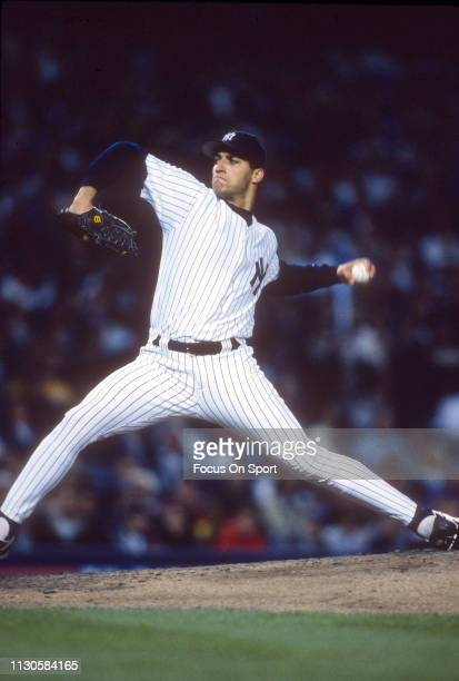 Andy Pettitte of the New York Yankees pitches during an Major League Baseball game circa 1997 at Yankee Stadium in the Bronx borough of New York City...