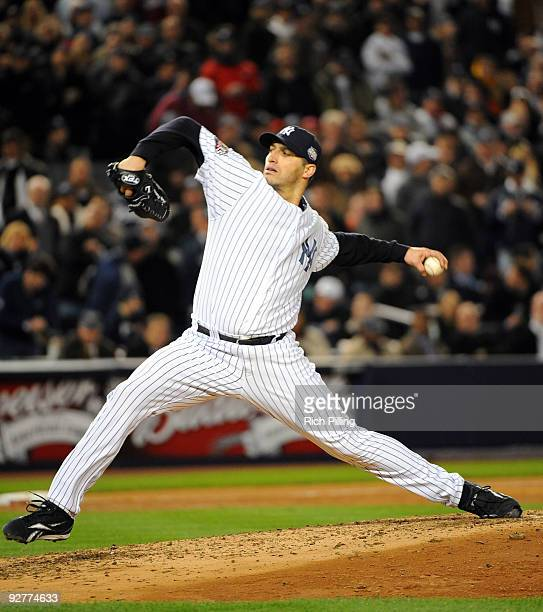 Andy Pettitte of the New York Yankees pitches during Game Six of the 2009 MLB World Series at Yankee Stadium on November 4 2009 in New York New York