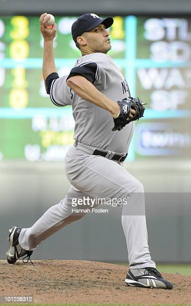 Andy Pettitte of the New York Yankees pitches in the fifth inning against the Minnesota Twins during the game on May 26 2010 at Target Field in...