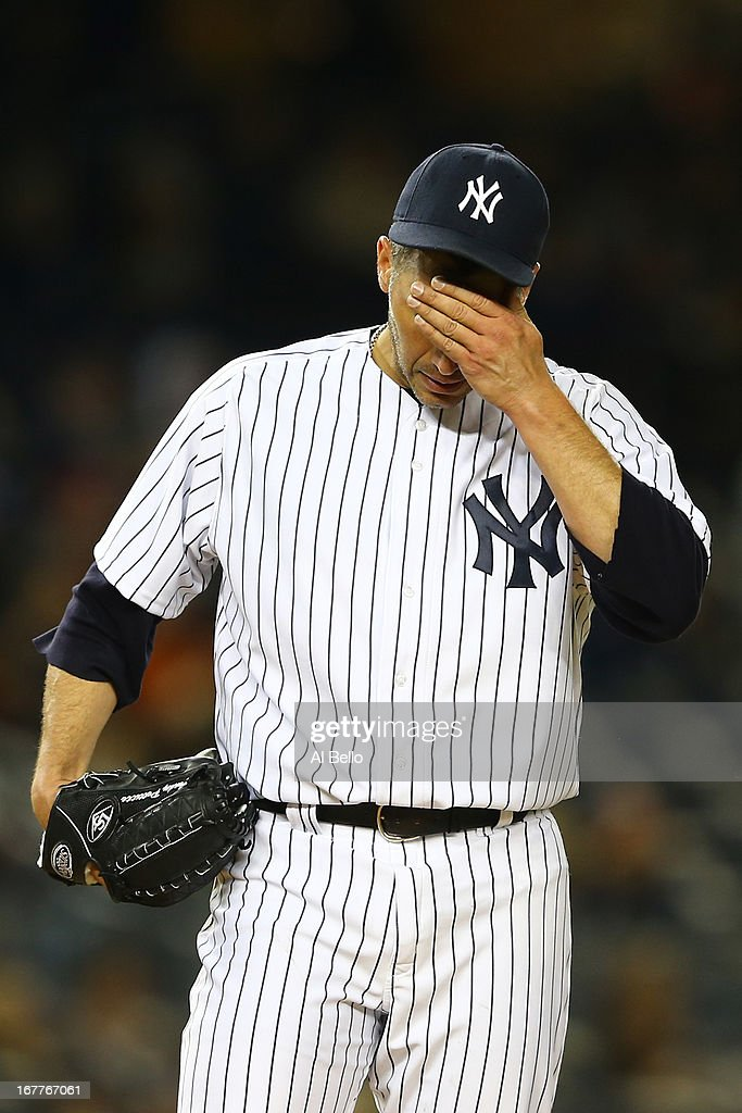 Andy Pettitte #46 of the New York Yankees reacts after giving up two runs by Brandon Barnes #2 of the Houston Astros in the fourth inning during their game on April 29, 2013 at Yankee Stadium in the Bronx borough of New York City