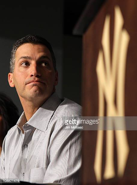 Andy Pettitte of the New York Yankees speaks during a press conference to announce his retirement on February 4 2011 at Yankee Stadium in the Bronx...