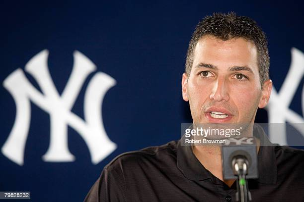Andy Pettitte of the New York Yankees speaks to the media during his press conference to discuss his HGH use on February 18 2008 at Legends Field in...