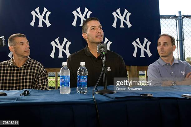 Andy Pettitte of the New York Yankees speaks to the media during his press conference to discuss his HGH use as Manager Joe Girardi and General...