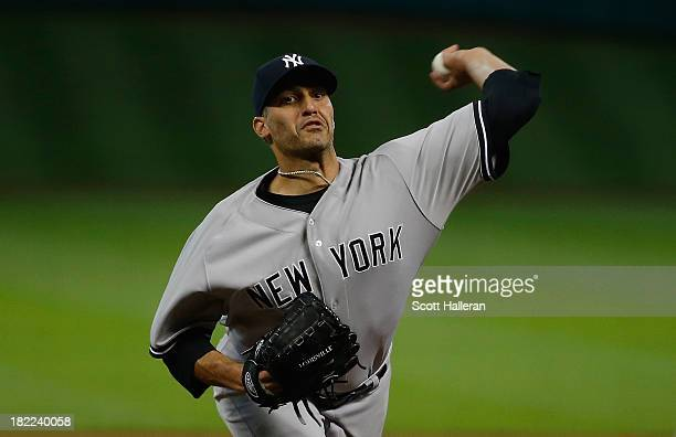 Andy Pettitte of the New York Yankees throws a pitch in the first inning against the Houston Astros at Minute Maid Park on September 28 2013 in...