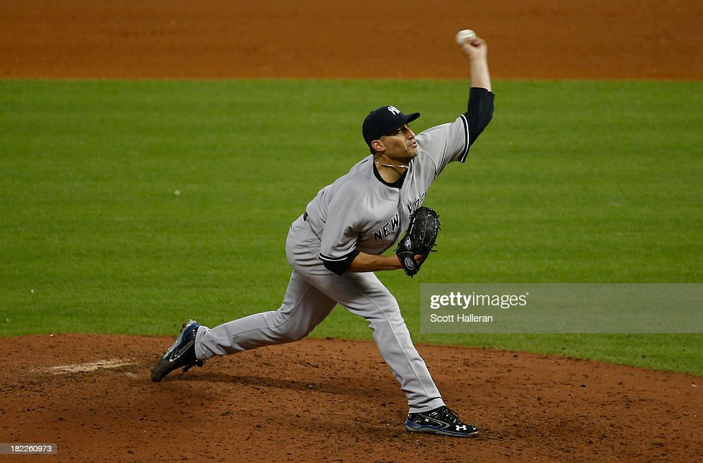 Andy Pettitte #46 of the New York Yankees throws a pitch in the ninth inning against the Houston Astros at Minute Maid Park on September 28, 2013 in Houston, Texas.