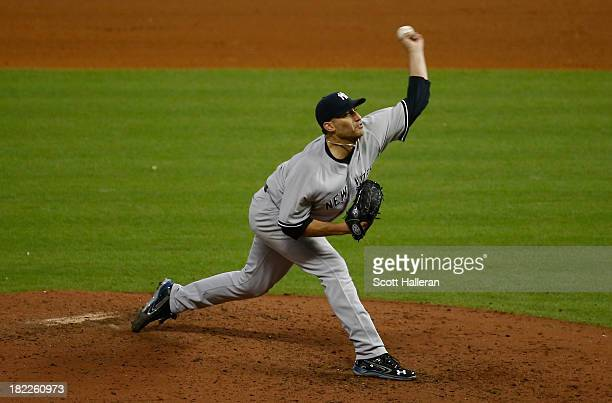 Andy Pettitte of the New York Yankees throws a pitch in the ninth inning against the Houston Astros at Minute Maid Park on September 28 2013 in...