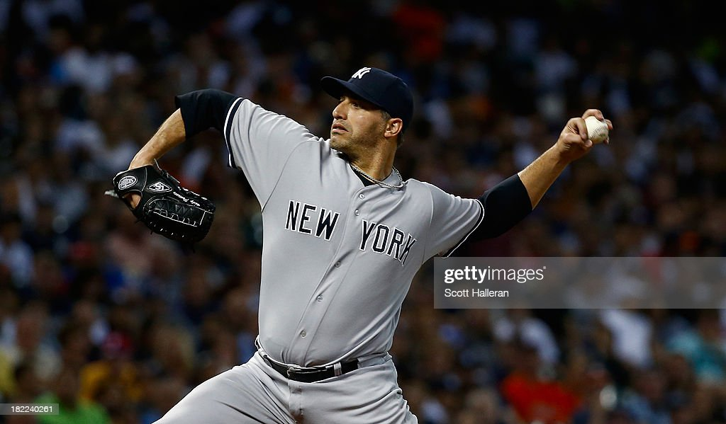 Andy Pettitte #46 of the New York Yankees throws a pitch in the second inning against the Houston Astros at Minute Maid Park on September 28, 2013 in Houston, Texas.