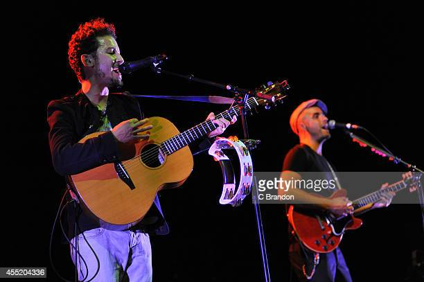 Andy Platts and Terry Lewis of Mamas Gun perform on stage at the Royal Festival Hall on September 10 2014 in London United Kingdom