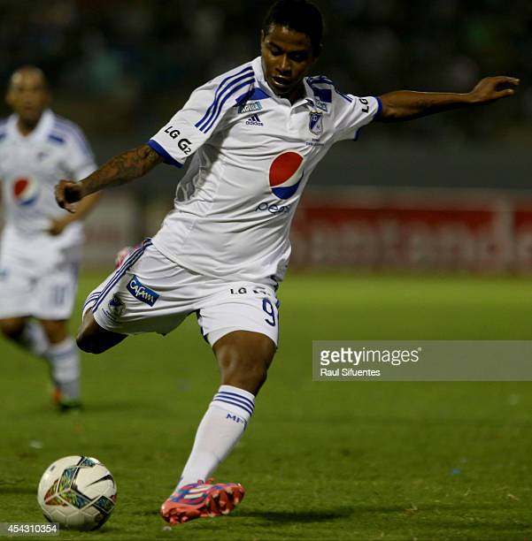 Andy Polo of Millonarios in action during a match between Cesar Vallejo and Millonarios as part of Copa Total Sudamericana 2014 at Mansiche Stadium...