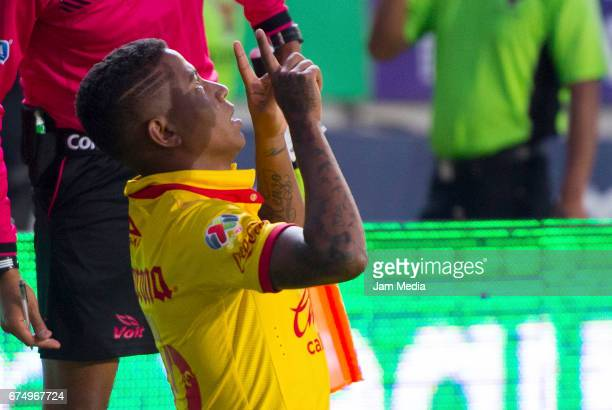 Andy Polo of Morelia celebrates after scoring his team's second goal during the 16th round match between Morelia and Pumas as part of the Torneo...