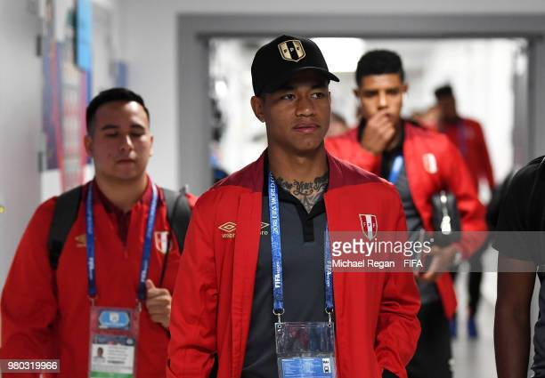 Andy Polo of Peru arrives at the stadium prior to the 2018 FIFA World Cup Russia group C match between France and Peru at Ekaterinburg Arena on June...